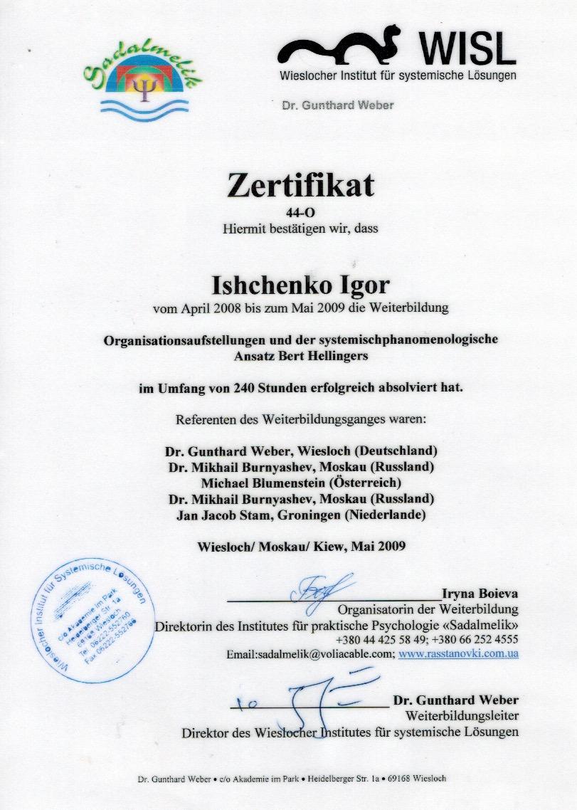 Игорь Ищенко сертификат 1